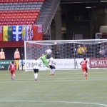 Canada's Women's National Team vs Germany where goalie jumps high