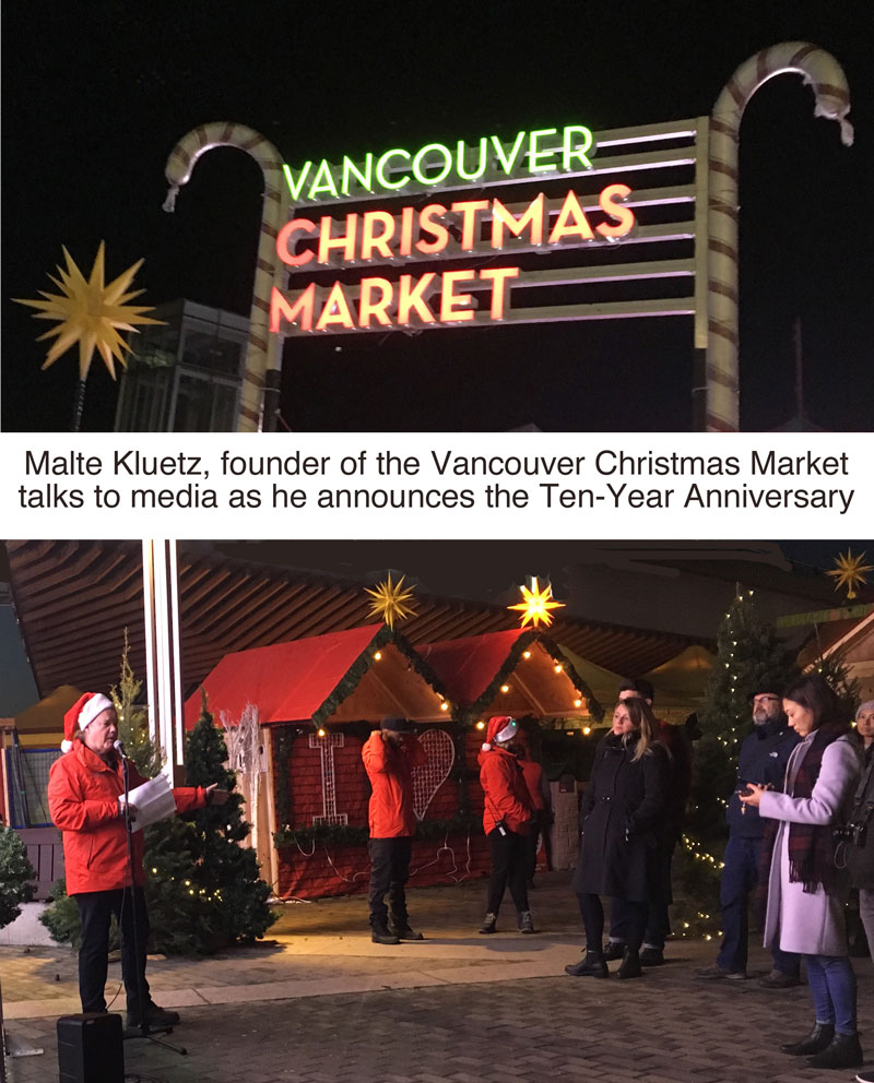Maelte Kluetz speaking at the Media & Influencer Night at the Vancouver Christmas Market.